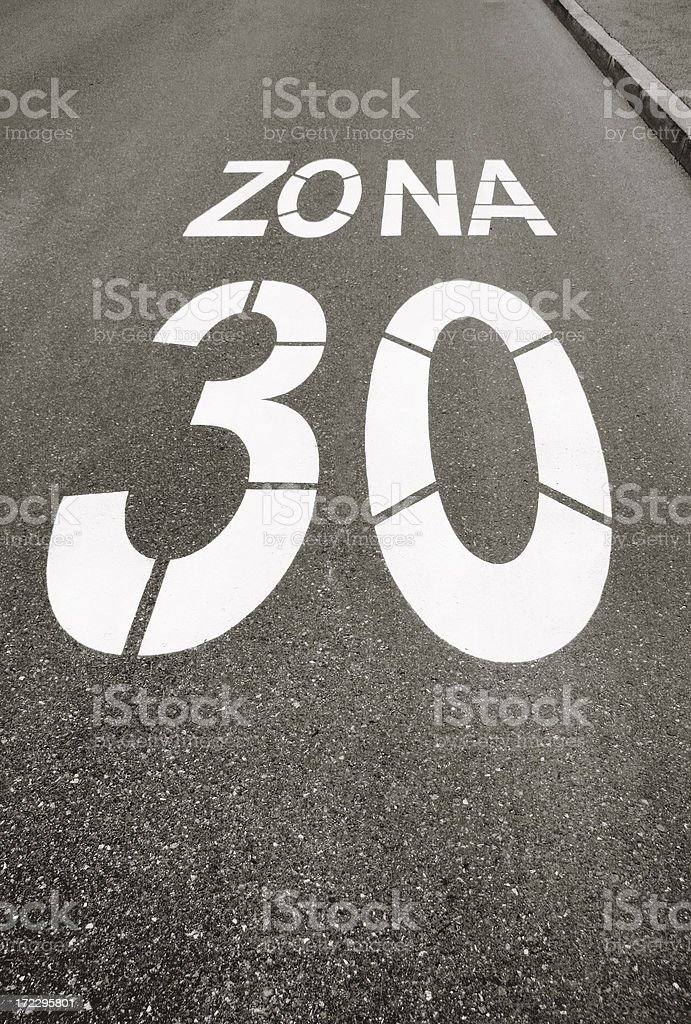 Road sign (limit speed) stock photo