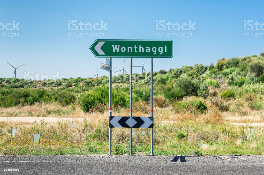 Road sign pointing to Wonthaggi in South Gippsland in Australia. royalty-free stock photo