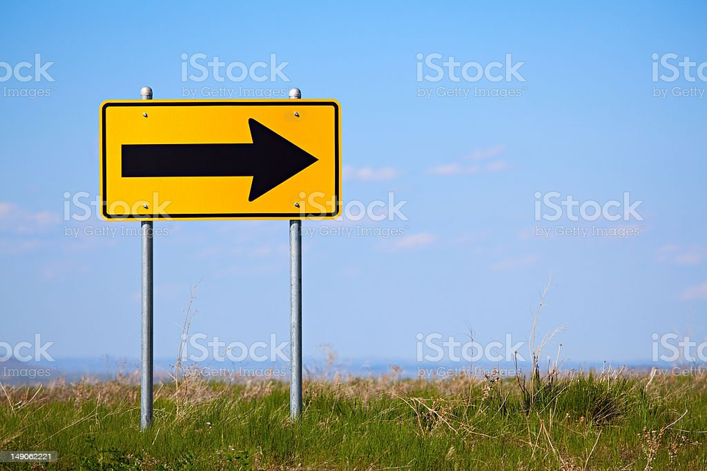 road sign right turn one way stock photo