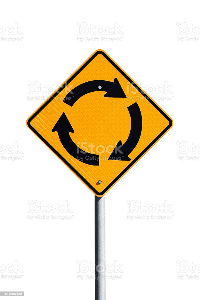 Road sign Roundabout isolated on white background, copy space stock photo