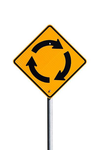 signalisation routière rond-point isolé sur fond blanc, espace de copie - rond point photos et images de collection