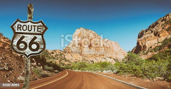Road sign Route 66 in Utah USA