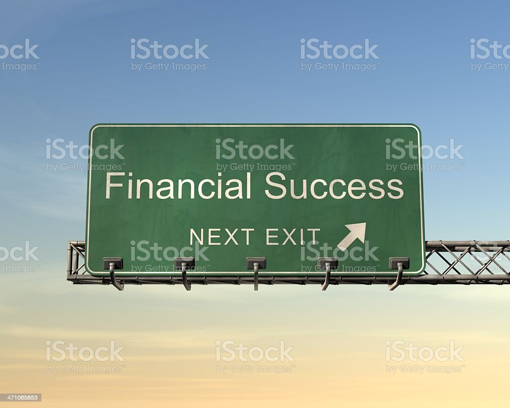 Road sign saying financial success next exit royalty-free stock photo