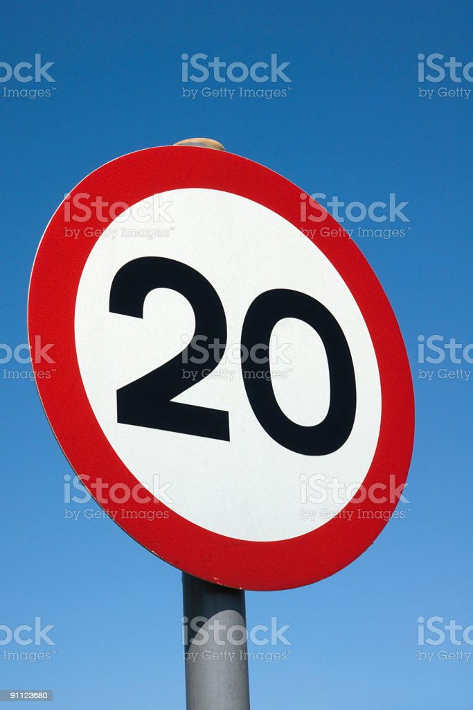 Road sign showing 20MPH speed limit in the UK stock photo
