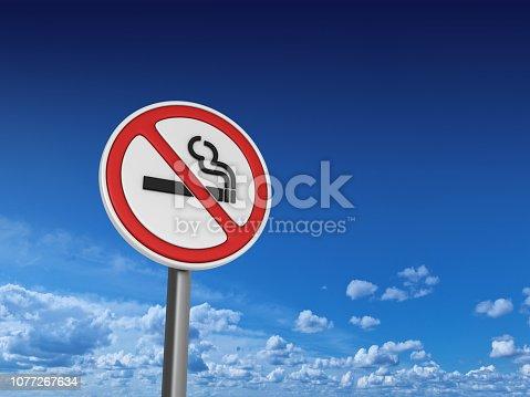 istock NO SMOKING Road Sign - Sky Background - 3D Rendering 1077267634
