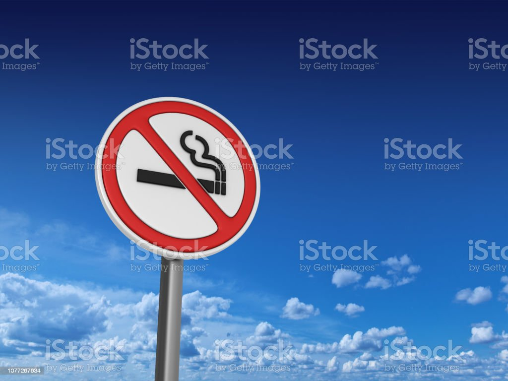NO SMOKING Road Sign - Sky Background - 3D Rendering stock photo