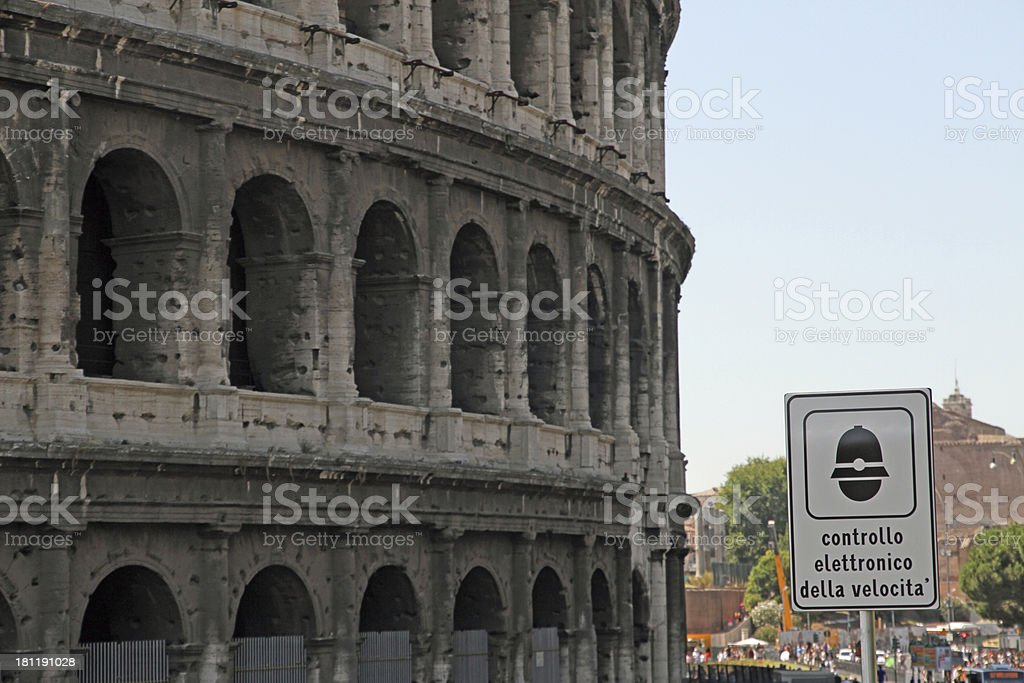 road sign speed limit control near the Colosseum royalty-free stock photo