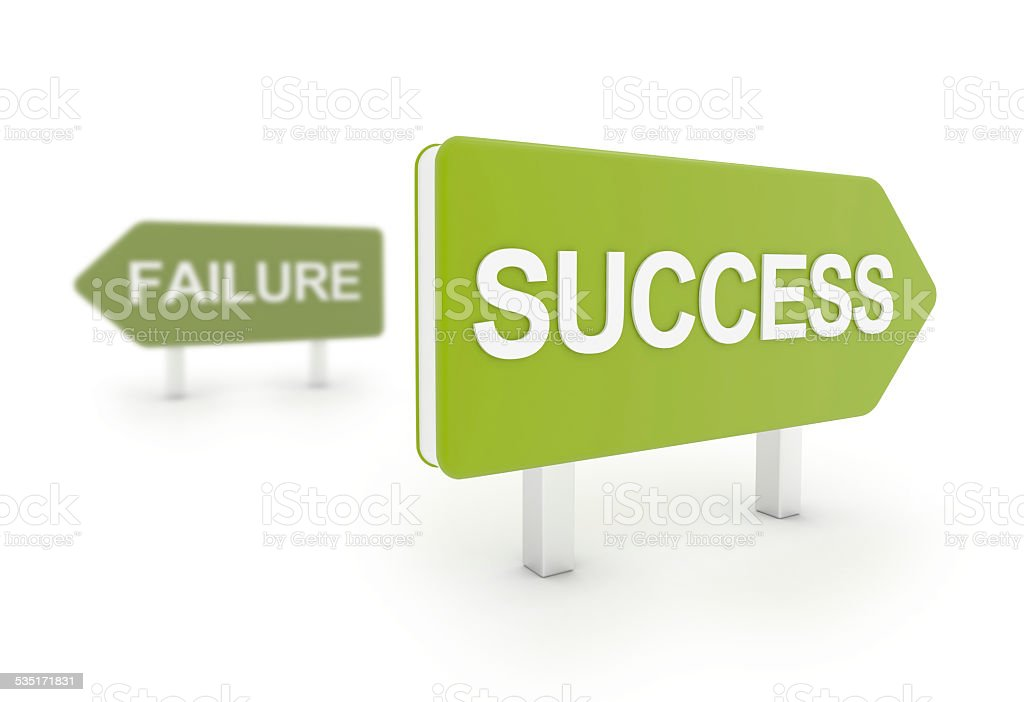 3D road sign - success and failure concept stock photo