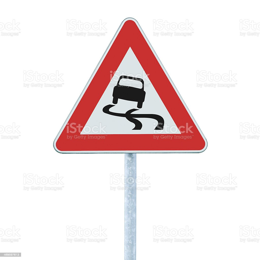 Road sign that means slippery when wet stock photo