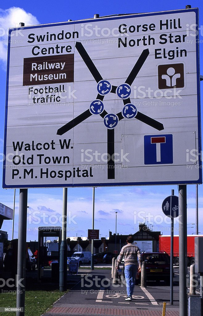 Cartello stradale il Magic Roundabout a Swindon. Wiltshire. Inghilterra foto stock royalty-free