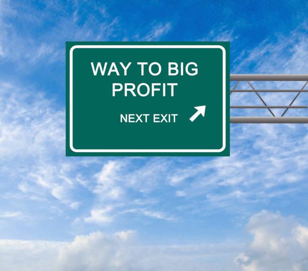 Cтоковое фото Road sign to big profit