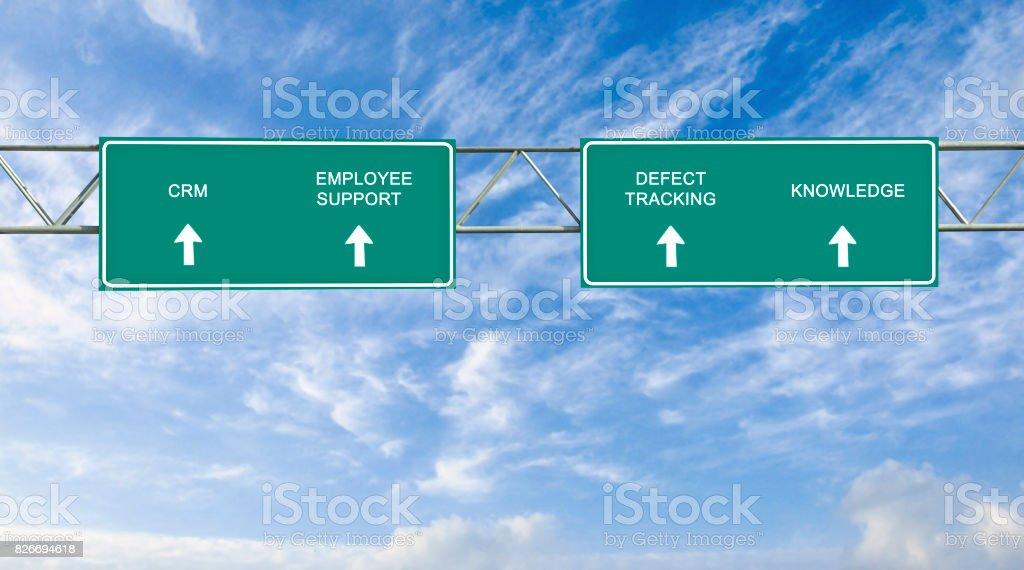 road sign to CRM stock photo