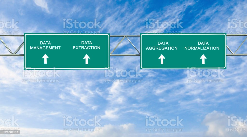 road sign to data management stock photo