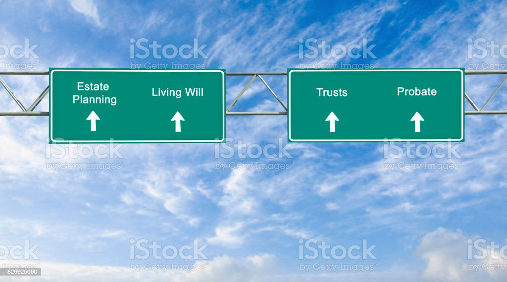 road sign to estate planning stock photo