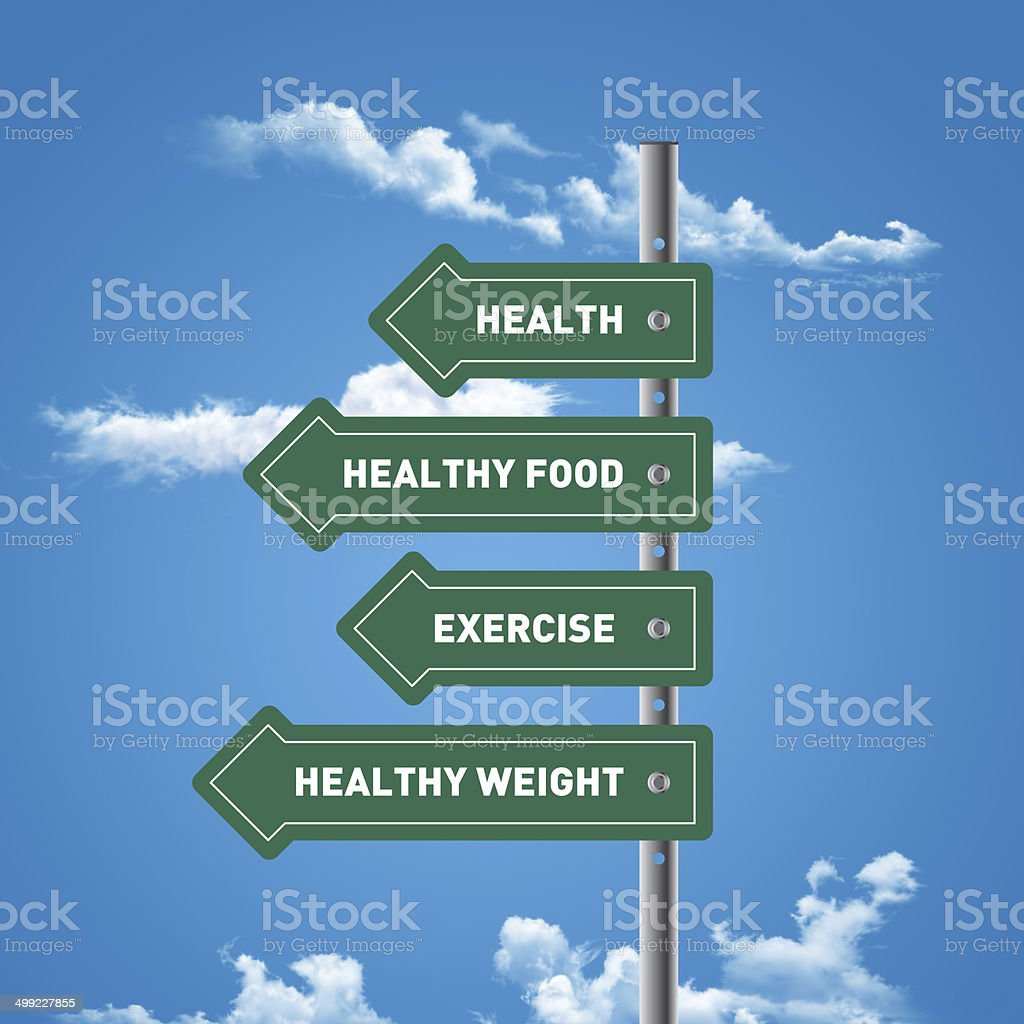 Road sign to health, healthy food, exercising, healthy weight stock photo