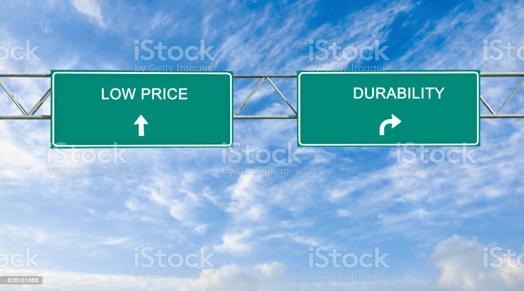 Road sign to low price and durability stock photo