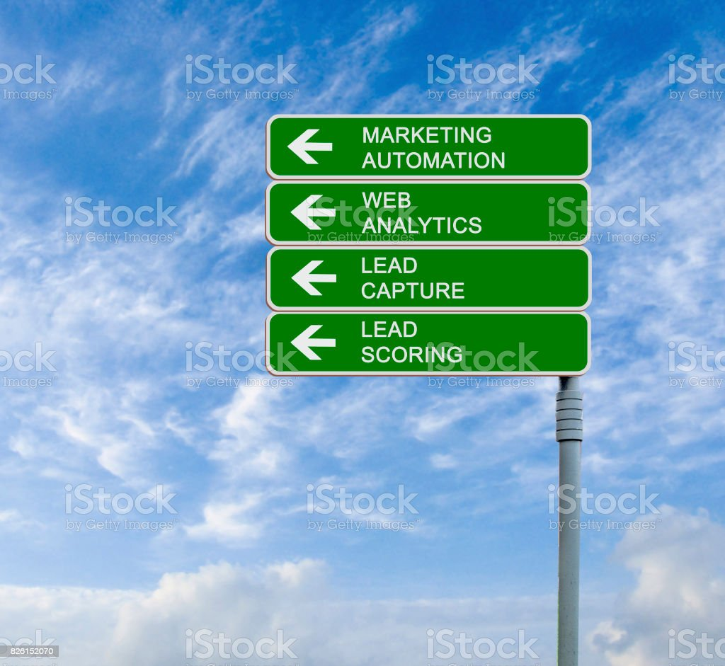 Road sign to marketing automation stock photo