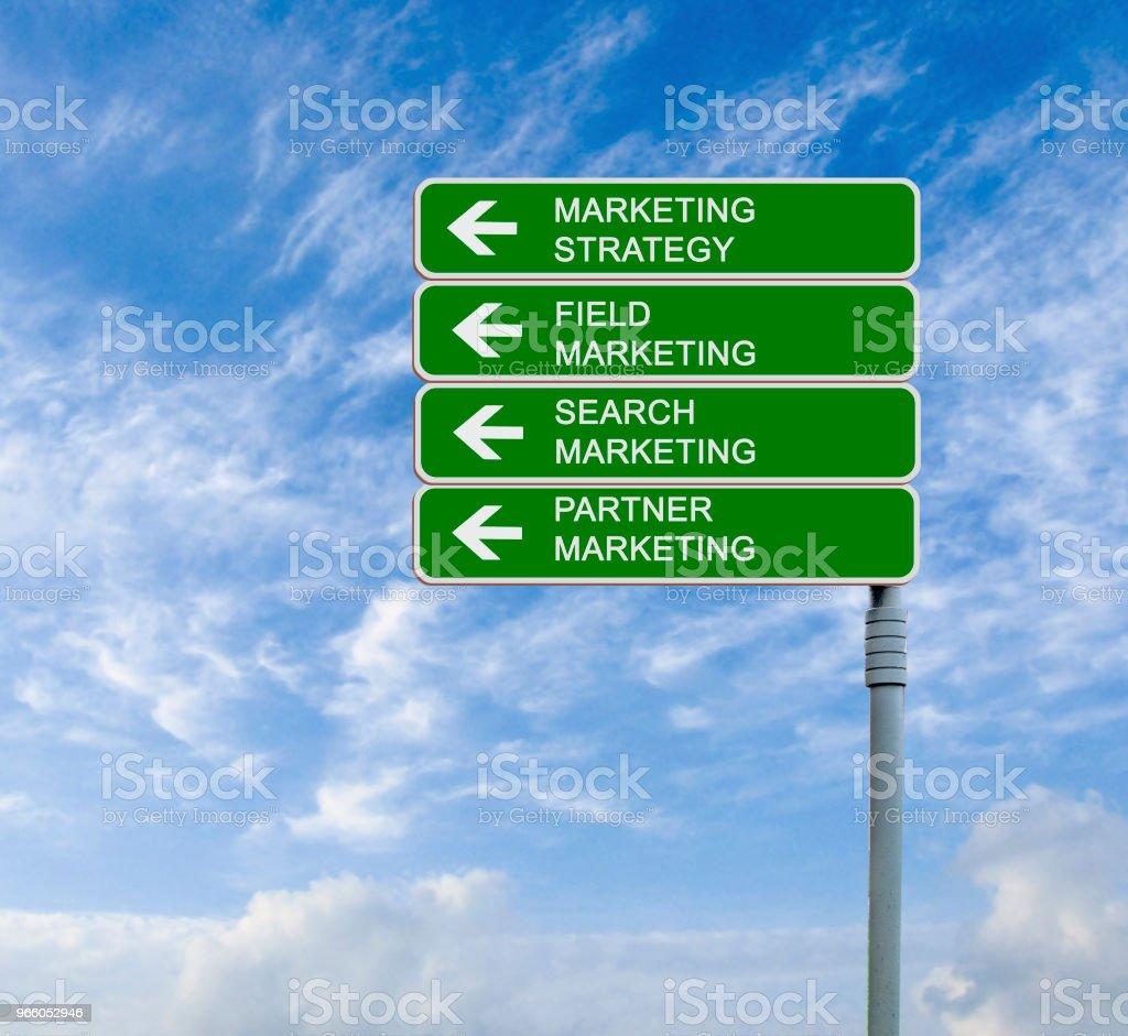 Verkeersbord naar marketing strategies - Royalty-free Bedrijfsleven Stockfoto