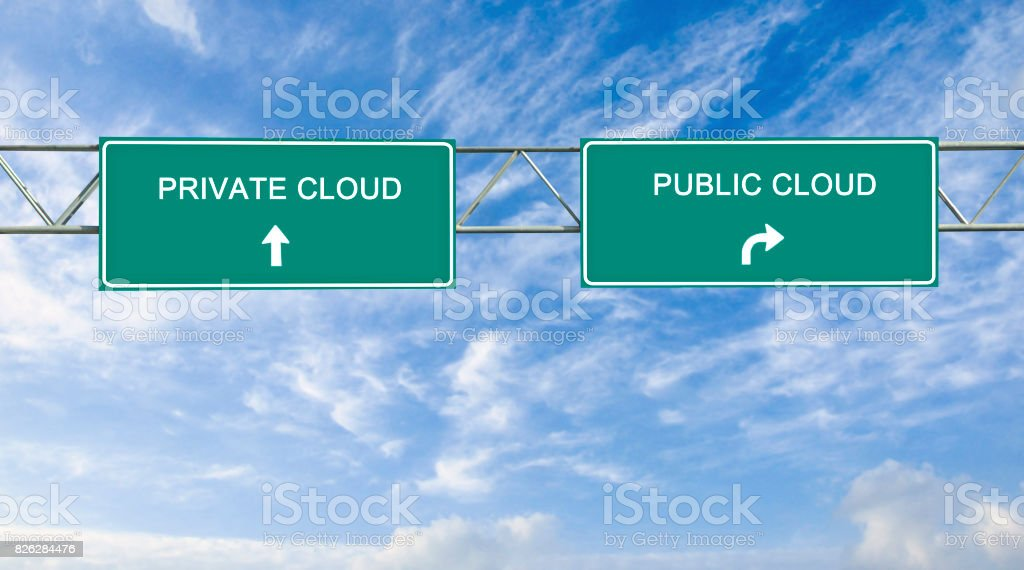 Road sign to public and private cloud stock photo