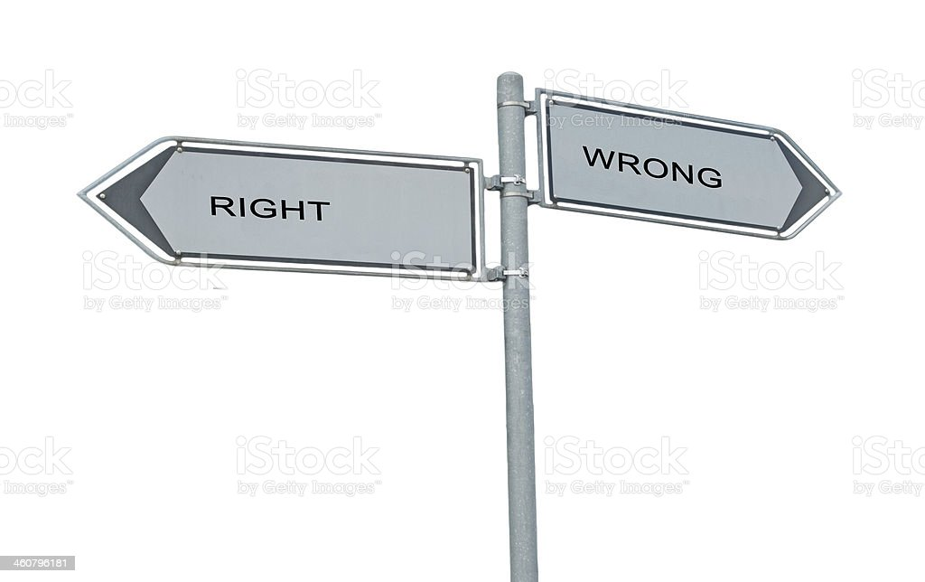 Road sign to right and wrong stock photo