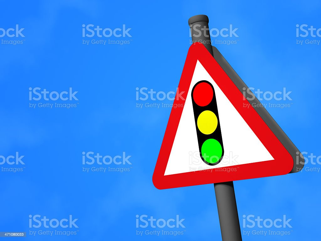 UK Road Sign - Traffic Signals Ahead royalty-free stock photo