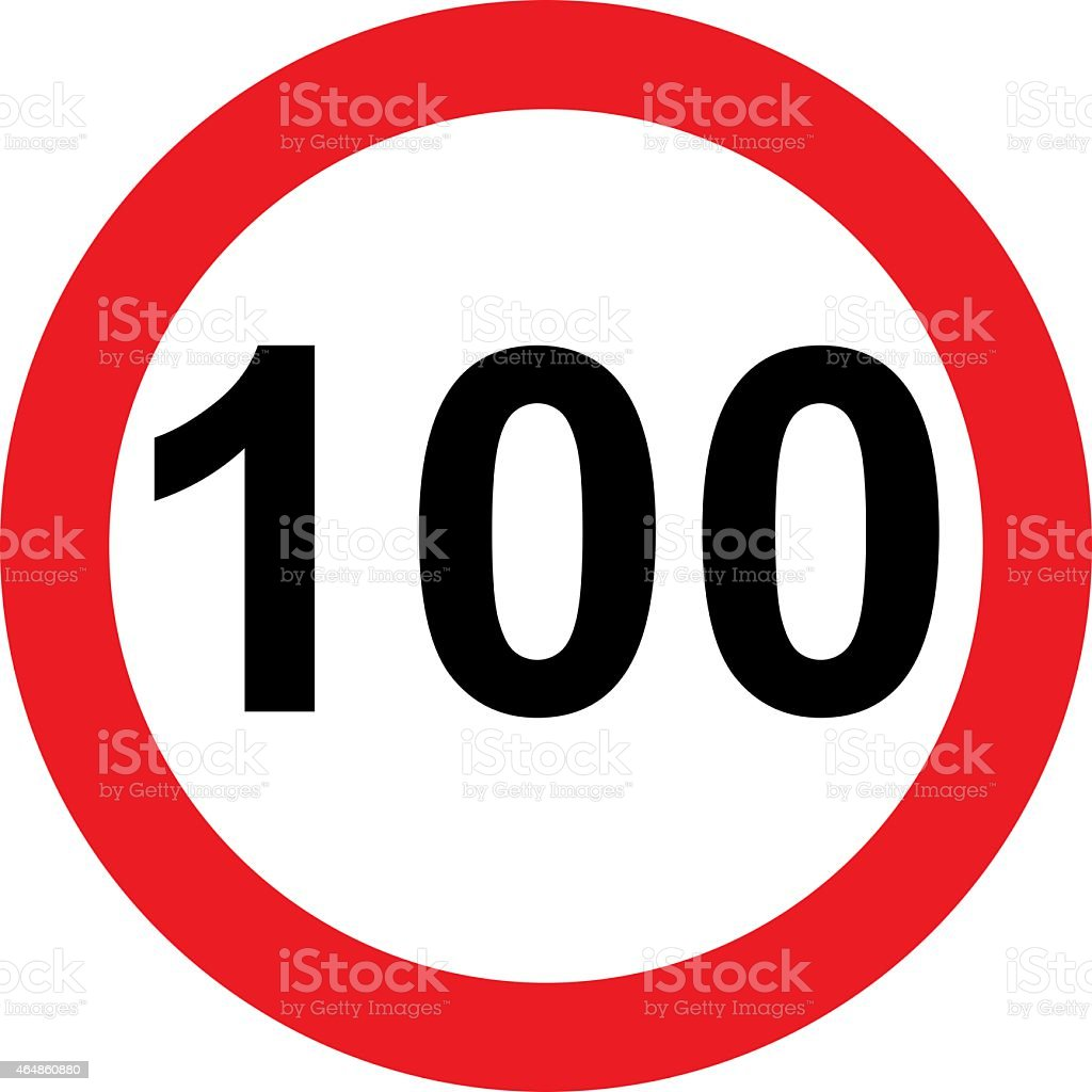 Road sign with 100 speed limitation stock photo