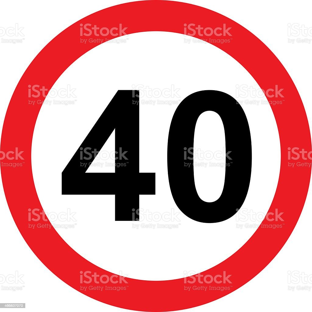 Road sign with 40 speed limitation stock photo