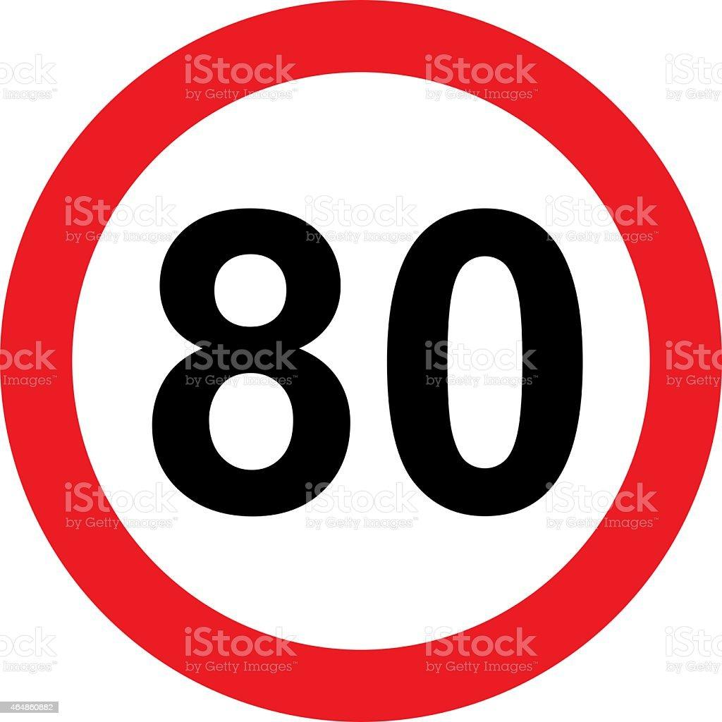 Panneau avec 80 limitation de vitesse - Photo