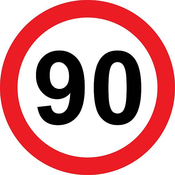 road sign with 90 speed limitation - number 90 stock photos and pictures