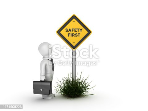 istock SAFETY FIRST Road Sign with Business Character - 3D Rendering 1171908223
