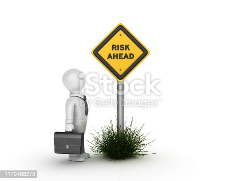 istock RISK AHEAD Road Sign with Business Character - 3D Rendering 1172468273