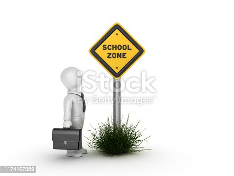 SCHOOL ZONE Road Sign with Business Character - White Background - 3D Rendering