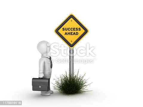 istock SUCCESS AHEAD Road Sign with Business Character - 3D Rendering 1175519116