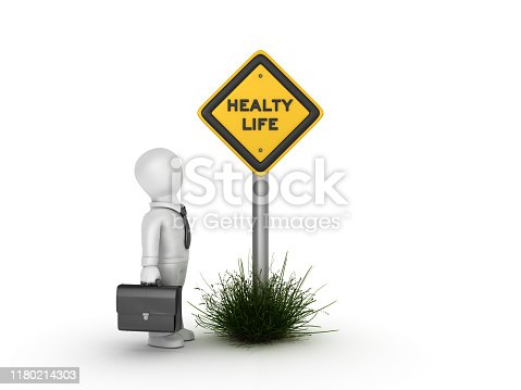 istock HEALTY LIFE Road Sign with Business Character - 3D Rendering 1180214303