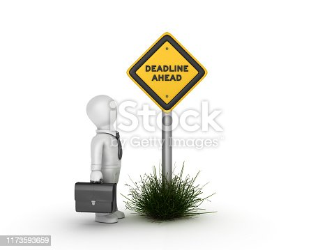 istock DEADLINE AHEAD Road Sign with Business Character 1173593659