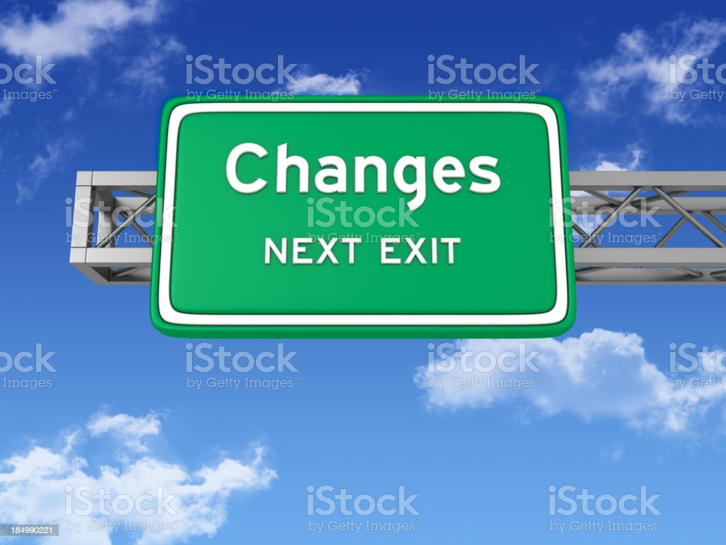 Road Sign with CHANGES and Sky stock photo