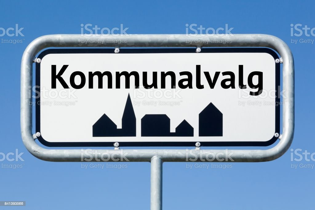 Road sign with danish text Danish municipalities elections stock photo