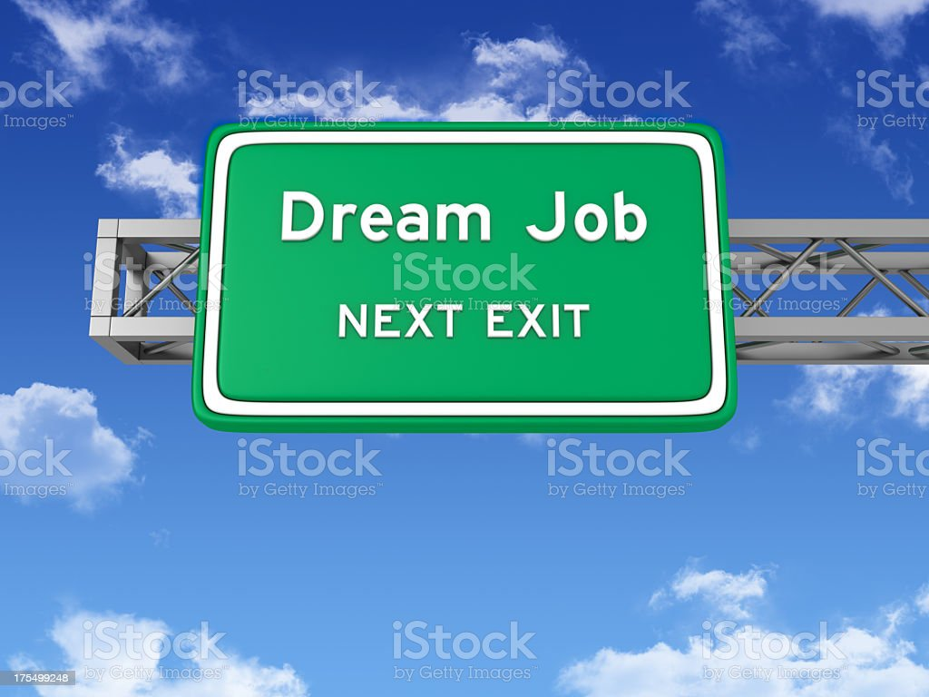 Road Sign with DREAM JOB and Sky stock photo
