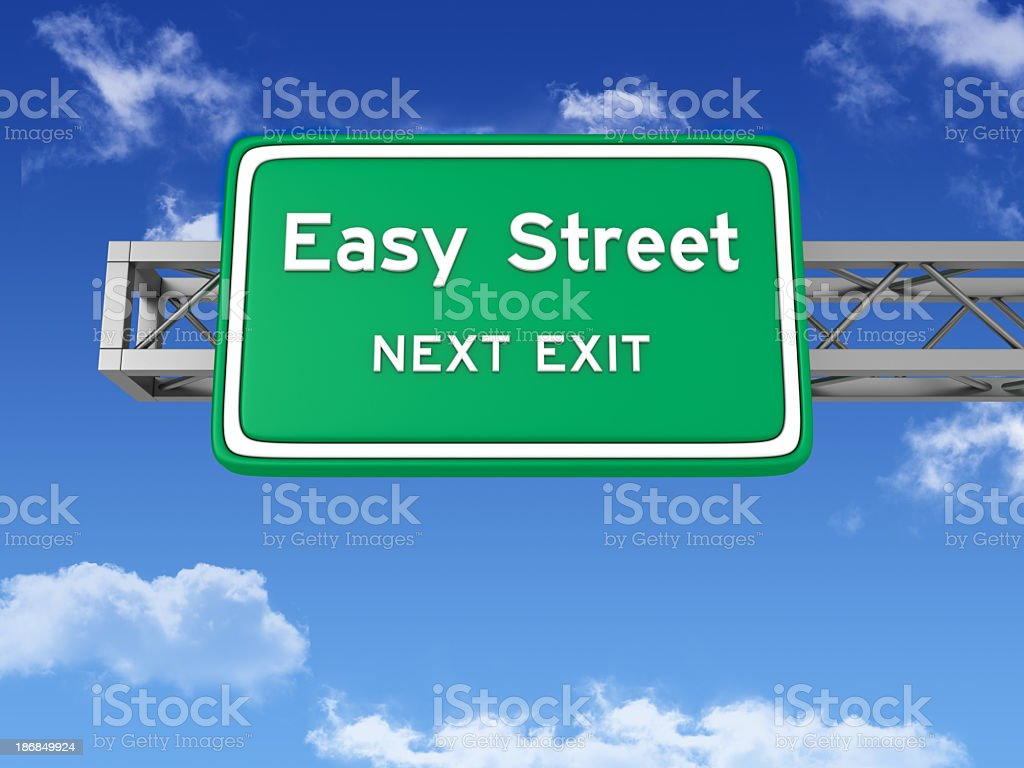 Road Sign with EASY STREET and Sky stock photo