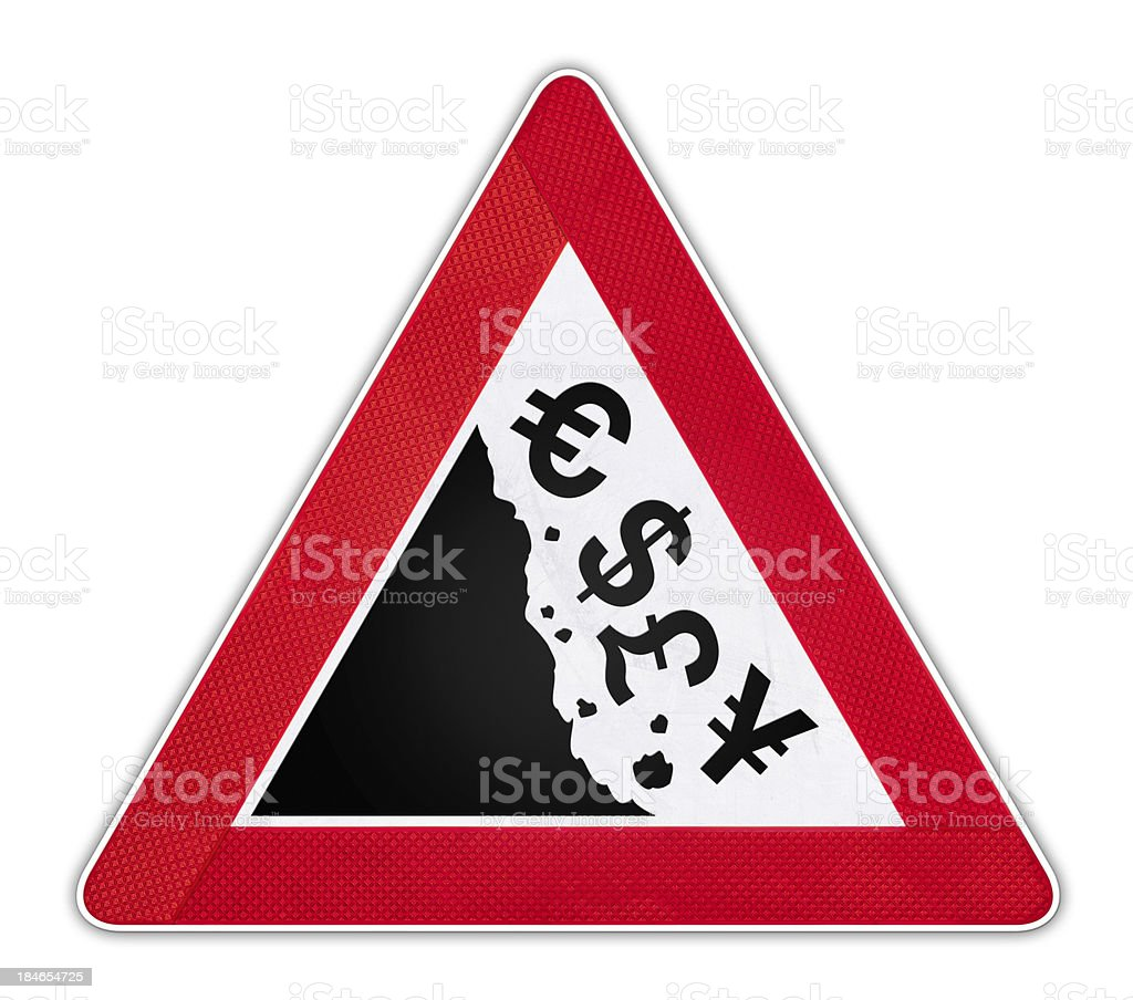 Road Sign with falling currency symbols. stock photo