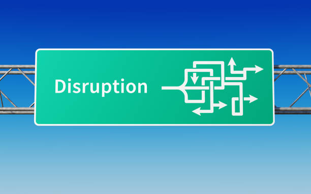 road sign with multiple paths to disruption - deviate stock pictures, royalty-free photos & images