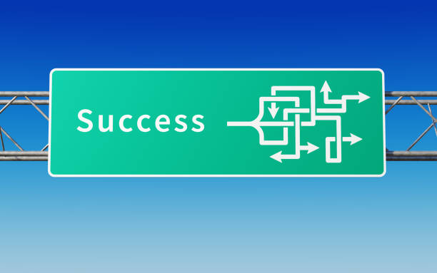 road sign with multiple paths to success - deviate stock pictures, royalty-free photos & images
