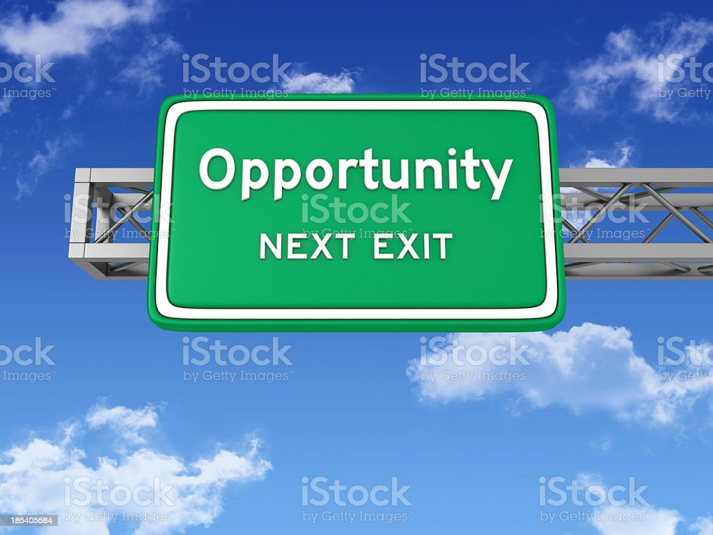 Road Sign with OPPORTUNITY and Sky royalty-free stock photo