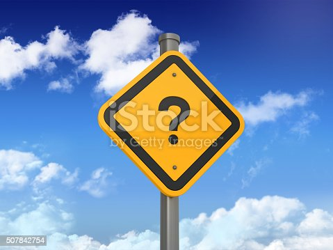 istock Road Sign with  QUESTION MARK 507842754