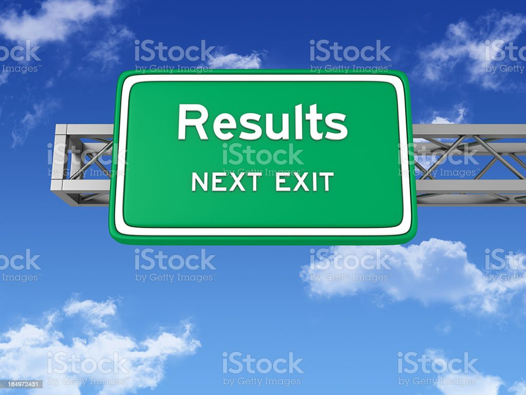 Road Sign with RESULTS and Sky royalty-free stock photo