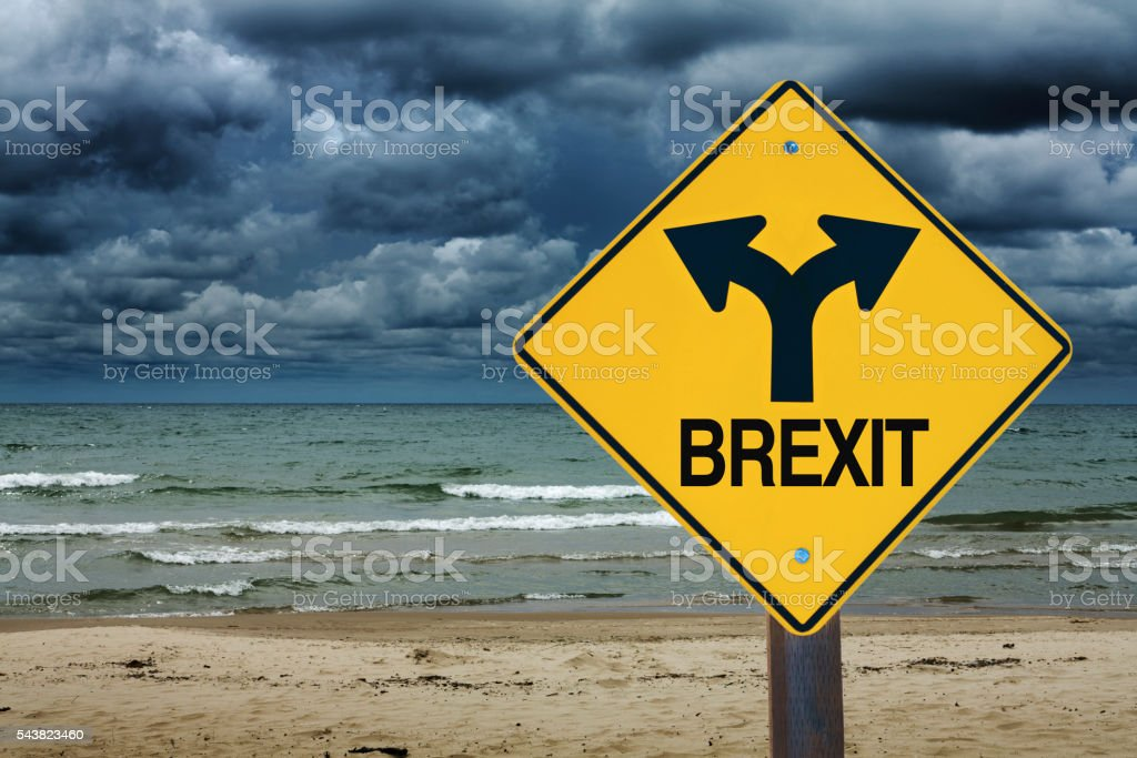 BREXIT Road Sign with Stormy Sky Future Ahead stock photo