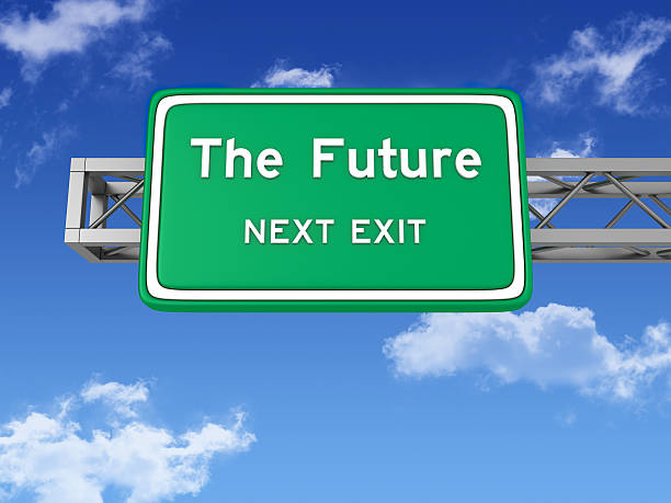 road sign with the future and sky - exit sign stock photos and pictures