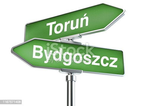 186103814istockphoto Road sign with the inscription Bydgoszcz and Torun 1167571408