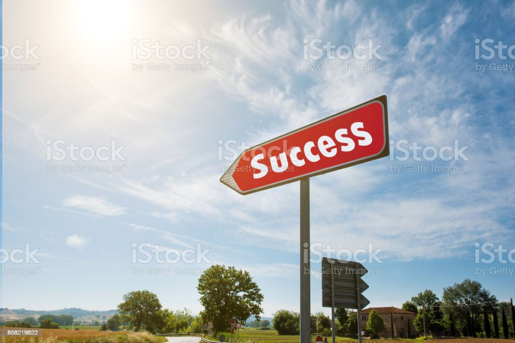 Road sign with the inscription Succes stock photo