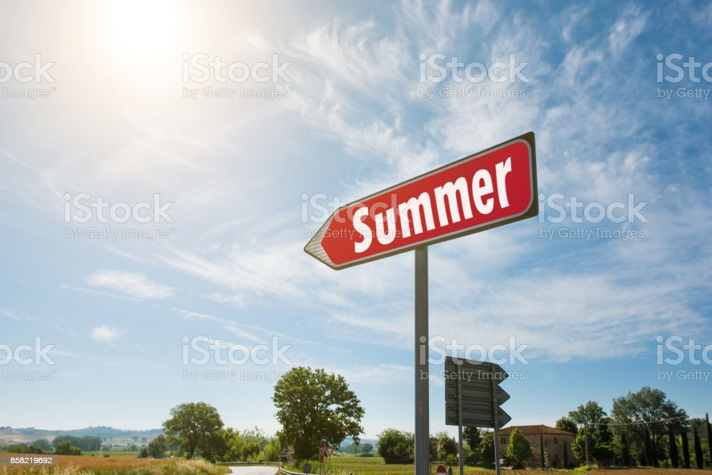 Road sign with the inscription Summer stock photo